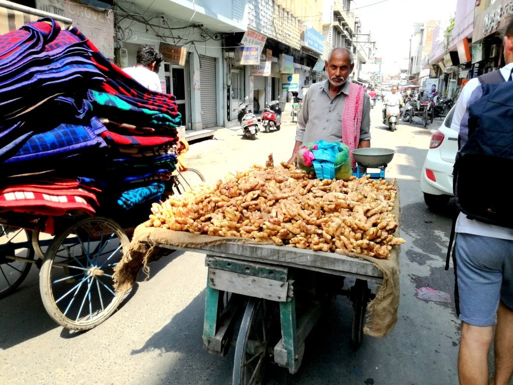 an_indian_seller_pulling_a_trolley_full_of_fresh_ginger