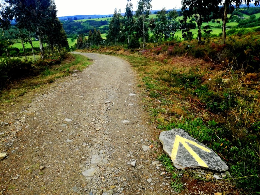 cottage_path_with_a_yellow_narrow_pointing_santiago_de_compostela