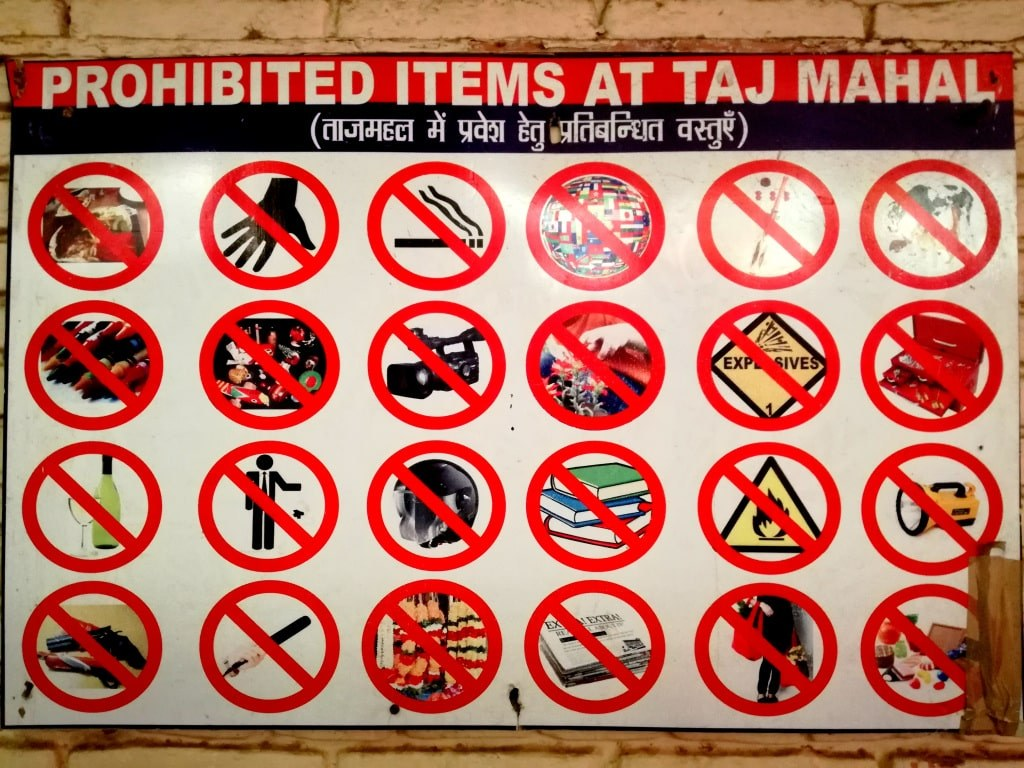 a_table_showing_prohibited_objects_in_taj_mahal