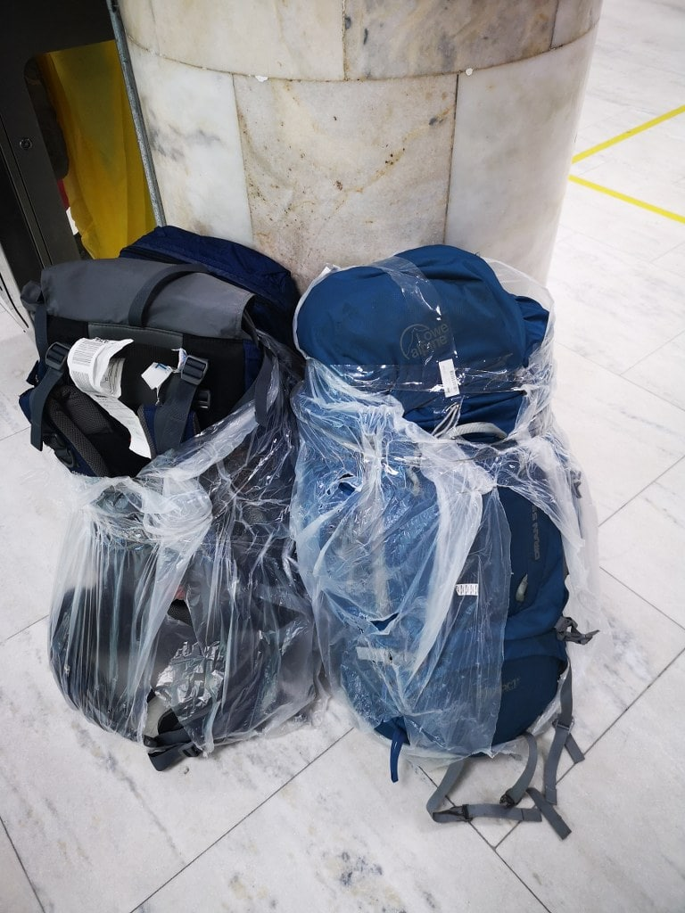 foiled-backpacks-at-airport-in-south-america