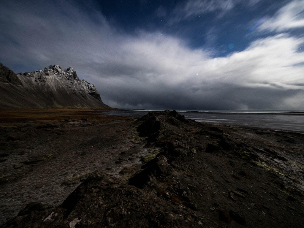 icelandic rocks in the moonlight