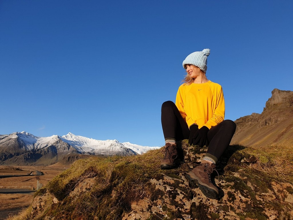blonde girl in icelandic scenery