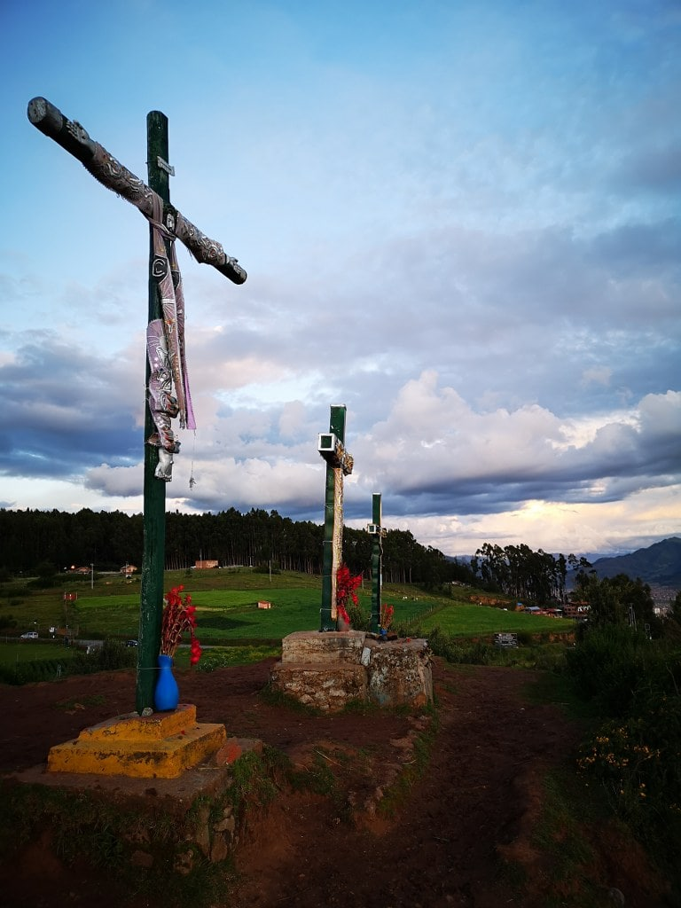 crosses in a mountain top