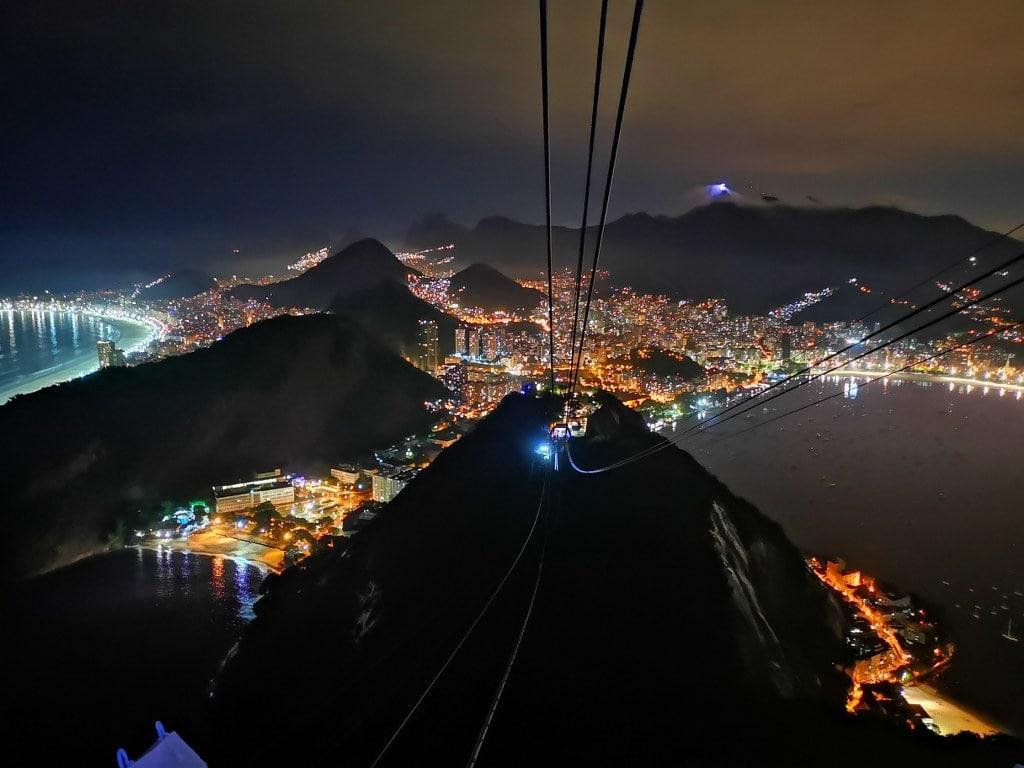 rio de janeiro night view from a top of sugar loaf mountain