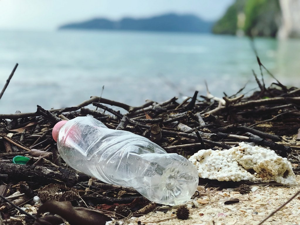 plastic bottle on a sea side