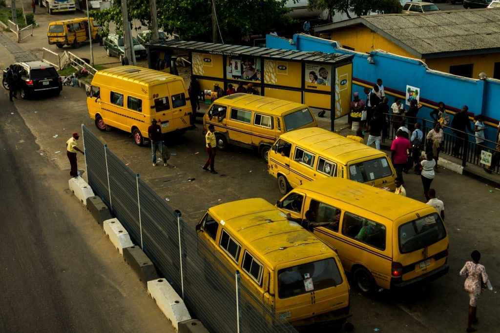 chaos made of yellow buses