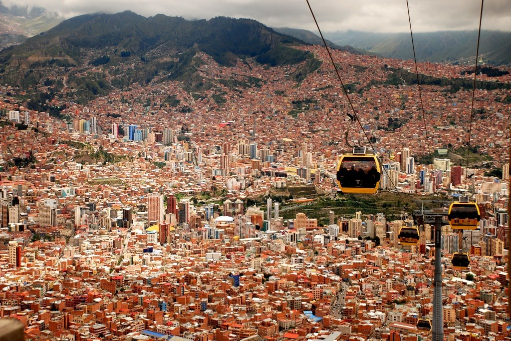 cable car in la paz with mountain view